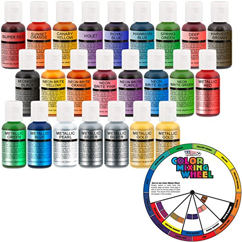 U.S. Cake Supply by Chefmaster Deluxe 24 Bottle Airbrush Cake Color Set - The 22 Most Popular Colors in 0.7 fl. oz. (20ml) Bottles Bonus Color Mixing Wheel