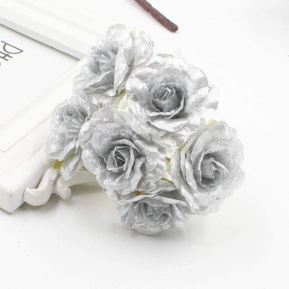 PPL21 30個 ゴールド シルバー グリッター 人工シルク フラワーブーケ 結婚式 装飾 DIY スクラップブック 手芸 花 造花 B07H6DV7W1 1