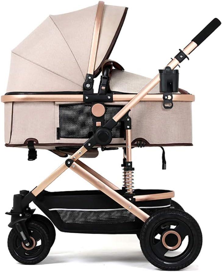 BBYRTC Carrito para bebés La luz del Paisaje Alto Puede Sentarse y acostarse Doble la suspensión Cuatro Rondas Carrito de bebé Carrito de bebé Cuna para bebé