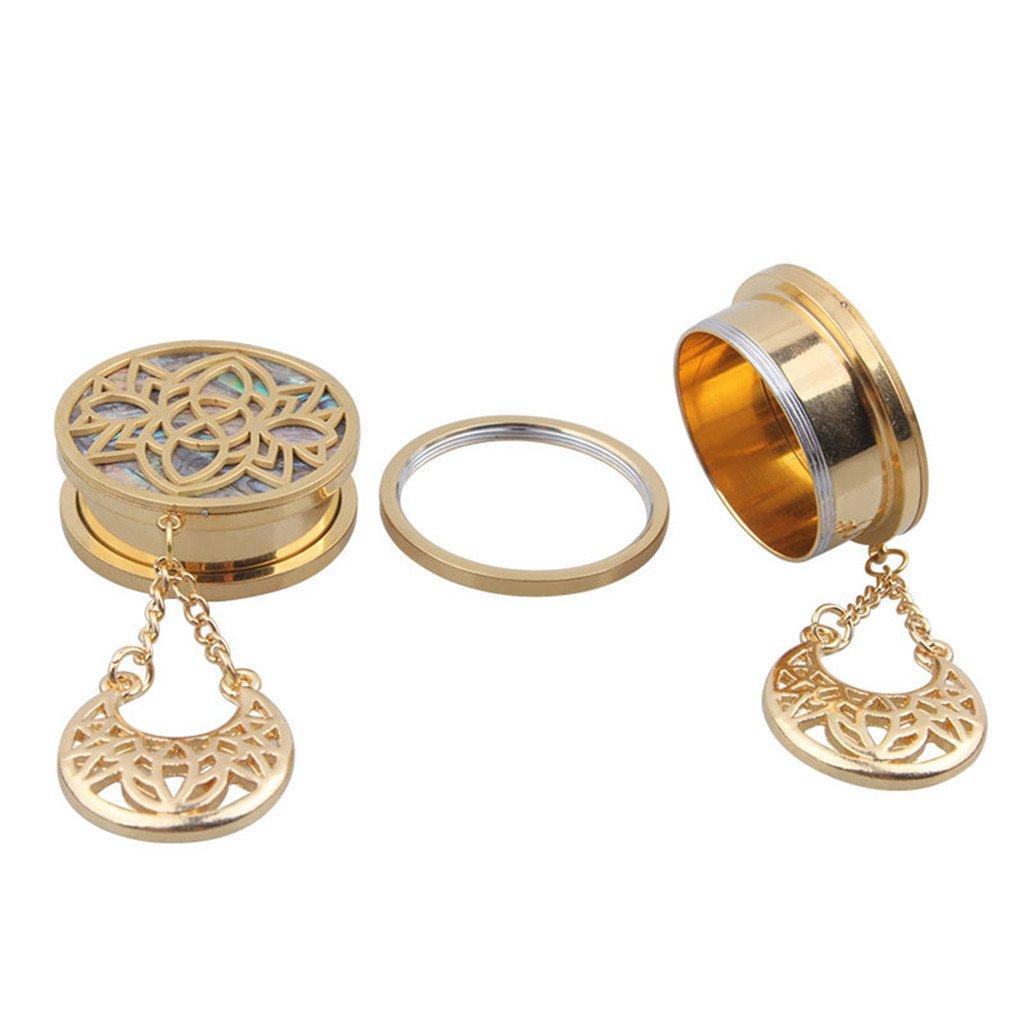 10 mm Sharplace 2X Pendientes Aretes T/únel Expansor para O/ídos Orejas Dise/ño Hueco Bonito Color Oro