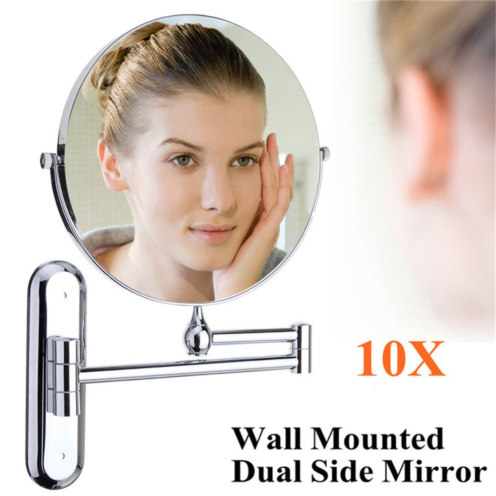 GF Wood Cosmetic Double-Sided 10X Magnifying Mirrors Chrome Round 8'' Wall Mirror Foldable Vanity Mounted Bathroom Toilet Mirror Shaving by GF Wood (Image #7)