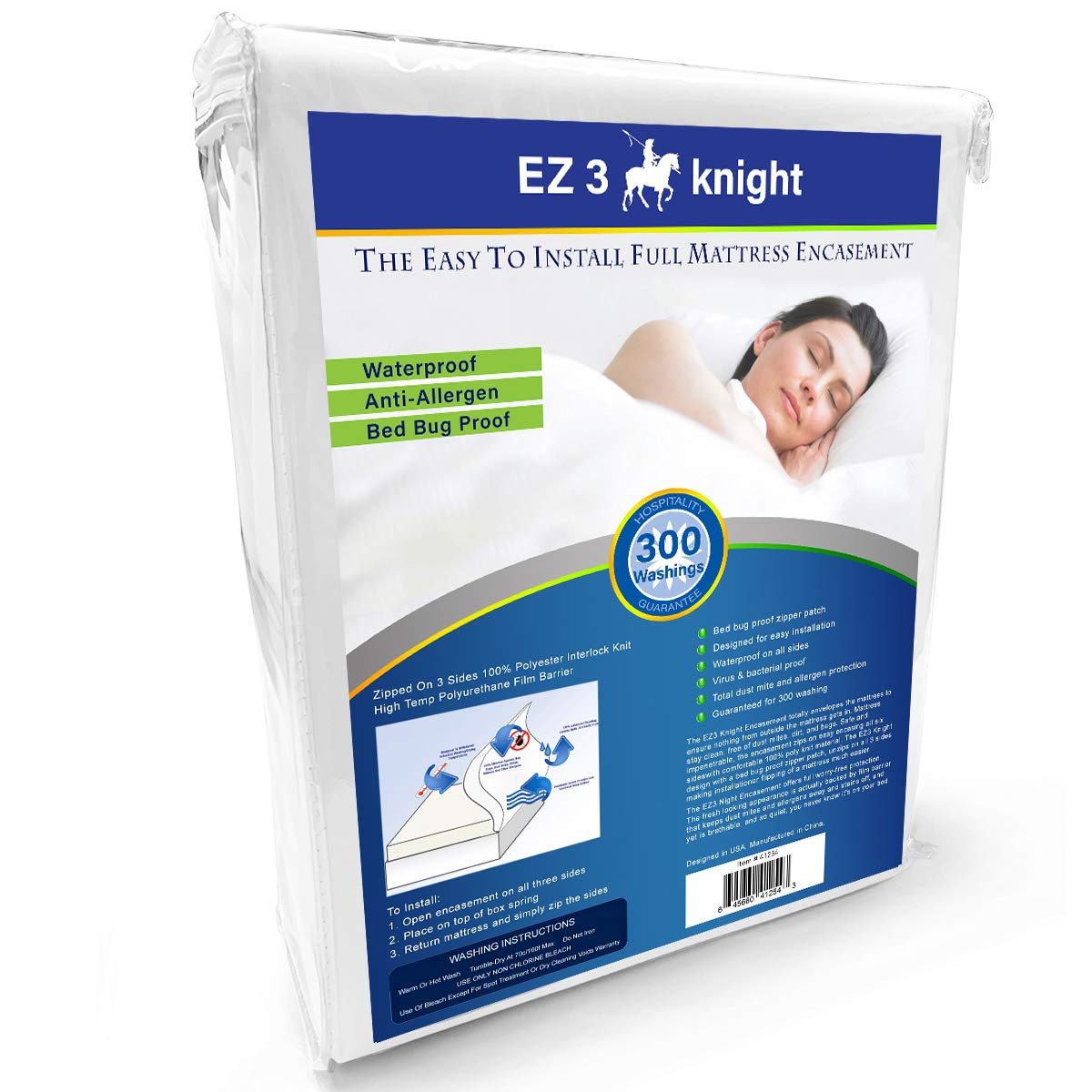 EZ3 Knight Mattress Encasement - Quality Mattress Protector Designed with 100% Waterproof, Virus & Bacteria Proof, Hypoallergenic Poly-Knit Material (Full Bed) by Easy King