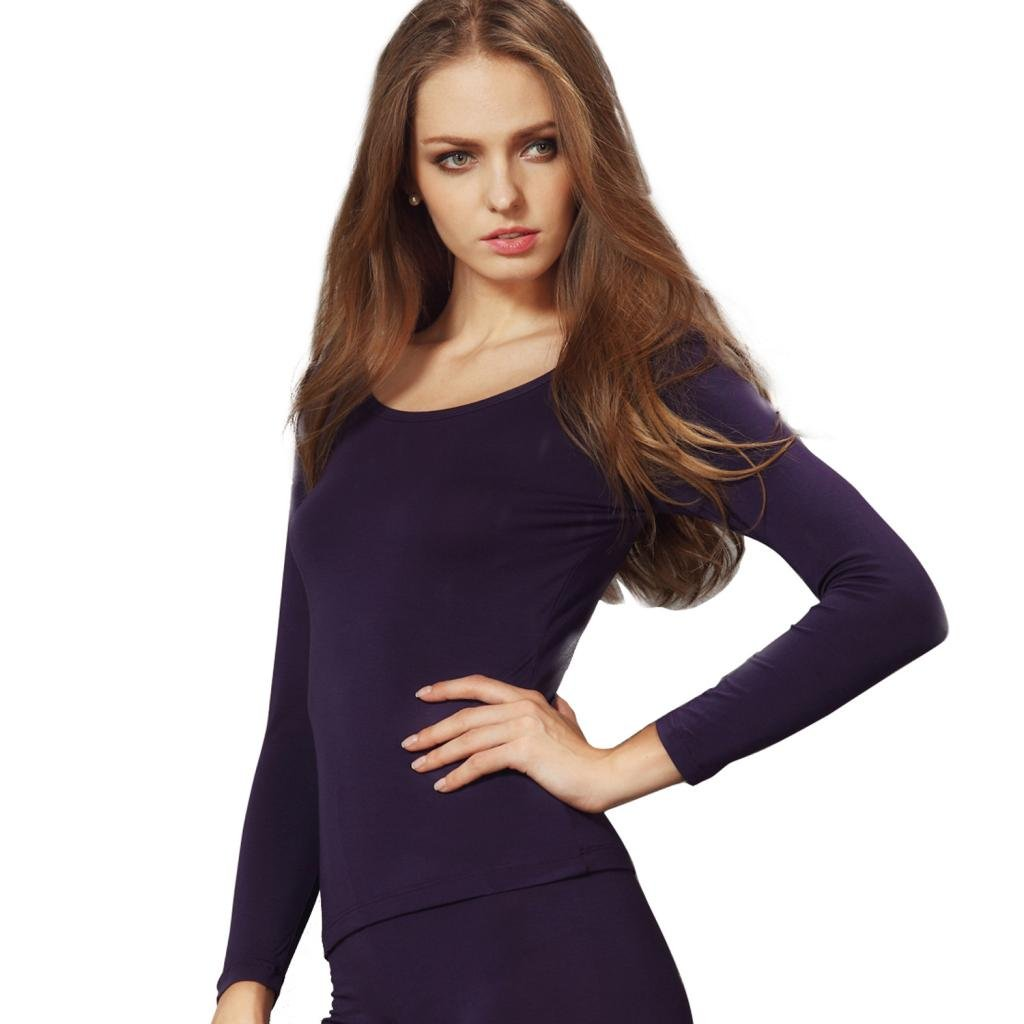 Liang Rou Women's Round Neck Ultra-Thin Underwear Long Sleeve Shirt Top MT868S-$S