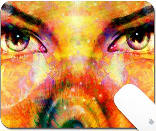 Drip Collage (Luxlady Gaming Mousepad 9.25in X 7.25in IMAGE: 43219704 abstract color Backgrounds and woman eye with butterflies painting collage with spots rust structure)