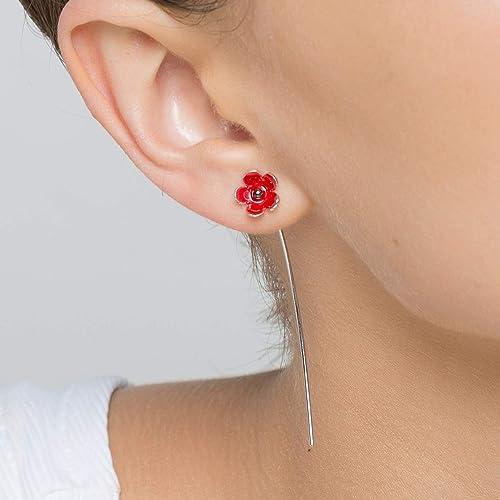 Silver Earrings Red Earrings Yellow Earrings Silver Red and Yellow Drop Earrings Pierced Dangle Earrings Artisan 925 Silver Earrings