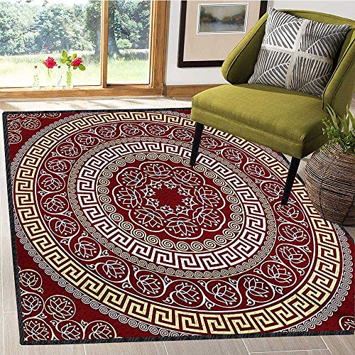 - Greek Key, Area Rugs for Bedroom, Round and Square Ornament Meander with Floral Motifs and Spirals, Customize Door mats for Home Mat 5x6 Ft Ruby Pale Yellow White