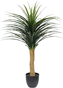 Artificial Tropical Yucana Tree - 47Inch/4Feet Tropical Dracaena Artificial Tree Faux Silk Plants Fake Potted Plant for Indoor-Outdoor Home Décor