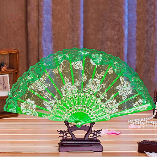 Green Retro Women Flower Floral Lace Folding Hand Fan For Dance Drama Wedding