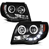 [For 2005-2011 Toyota Tacoma Pickup Truck] LED Halo Ring Black Projector Headlight Headlamp Assembly, Driver & Passenger…
