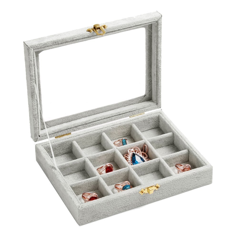 New Wayzon 12 Grids Jewelry Holder Organizer Box Storage Case Earrings Rings Disply with Lock for Women Girls (Gray)