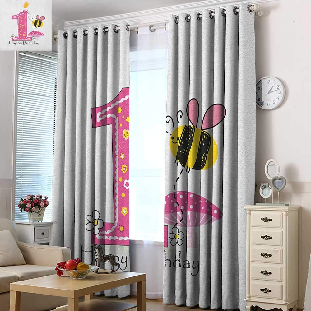 Acelik Doorway Curtains 1st Birthday Cartoon Style Image with The Bees Party Cake and The Candle Print Space Decorations 72'' W x 96'' L Pink Black and Yellow