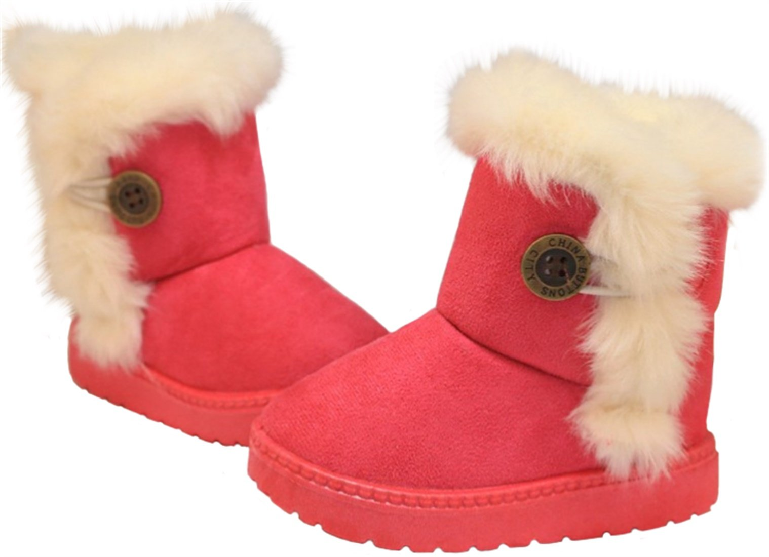PPXID Baby's Girl's Boy's Lovely Flat Button Winter Warm Snow Boots(Toddler/Little Kid)-Rose Red 4 US Size