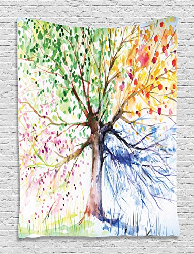 Tapestry Artistic - Ambesonne Tree Tapestry, Watercolor Style Artistic Tree with Colorful Blooming Branches Four Seasons Theme, Wall Hanging for Bedroom Living Room Dorm, 40 W X 60 L Inches, White Green