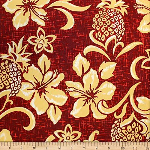 Trans-Pacific Textiles Hawaiian Retro Pineapple Pareo Wine, Fabric by the Yard - Retro Hawaiian Fabric