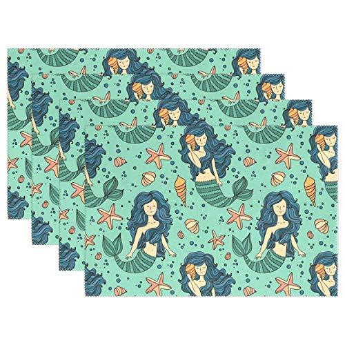 YATELI Placemats Beautiful Mermaid Seamless Pattern Ocean 12x18 inch Heat Resistant 1 Piece Non Slip for Dinning Kitchen