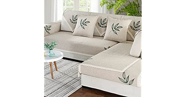 Amazon.com: Cotton and Linen Sectional Sofa Throw Cover Pad ...
