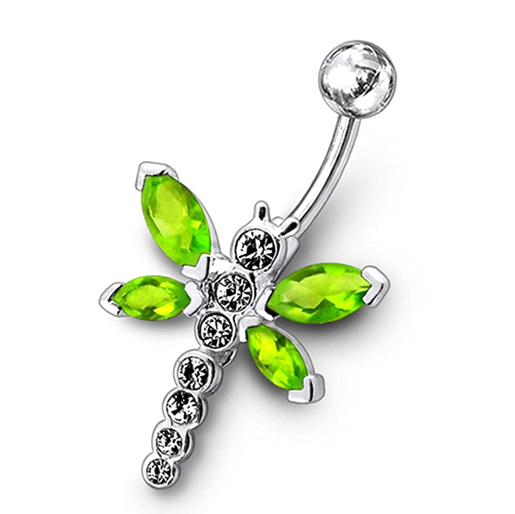 AtoZ Piercing Fancy Butterfly Dangling 925 Sterling Silver with Stainless Steel Belly Button Rings