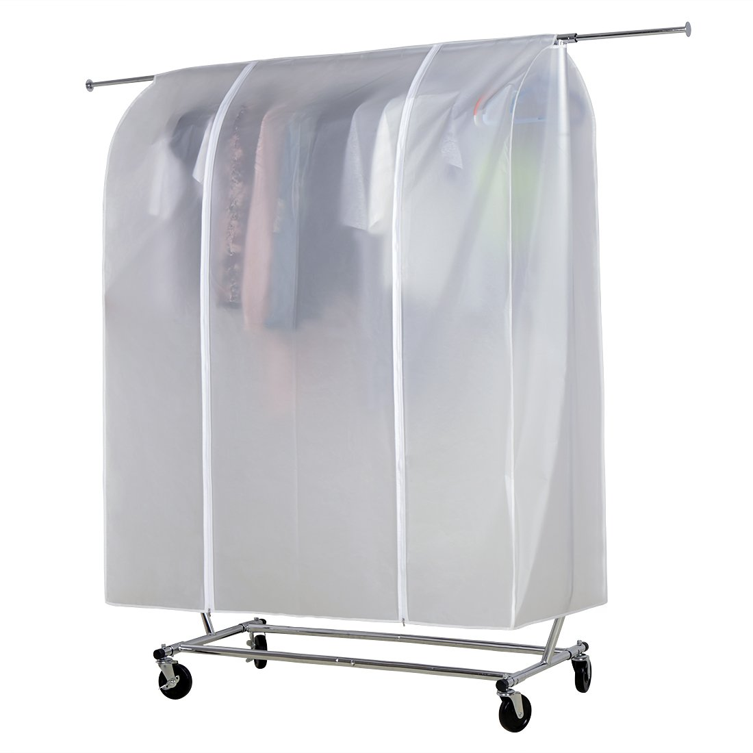 HLC White Cloth Garment Rack Cover Home Bedroom Clothing Rack Protective Cover