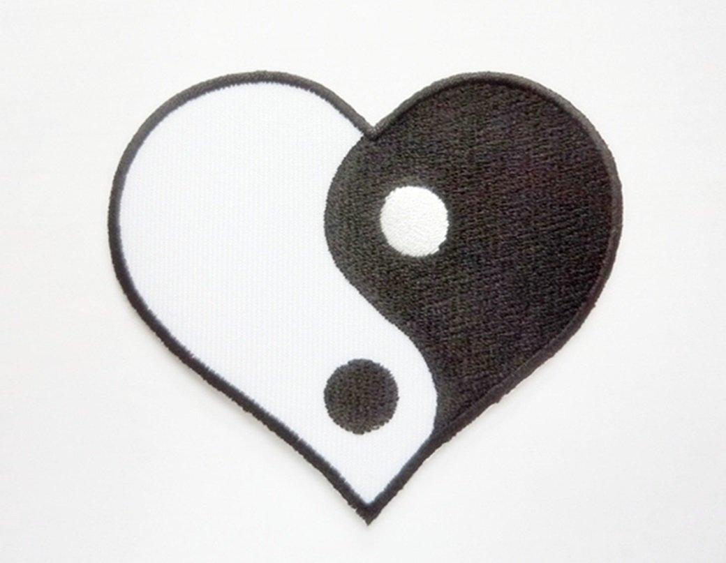 Amazon Heart Yin Yang Symbol Black Logo Motocross Racing Iron