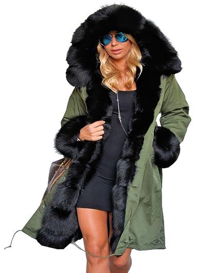 57531bafa8 Roiii Ladies Fur Lining Coat Womens Winter Warm Thick Long Jacket Outdoor  Hooded Parka  Amazon.co.uk  Clothing