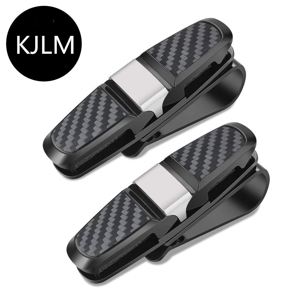 Car Sunglass Holders - Glasses Holder for Car Sun Visor Double-Ends Clip And 180° Rotational Car Glasses Holder with Ticket Card Clip - Set of 2 KJLM