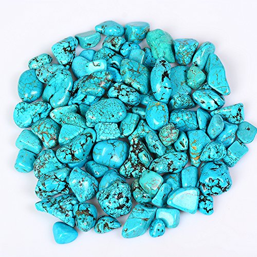 (XKACrystal 1 lb Tumbled Polished Stones Gemstone Supplies for Reiki Healing Crystal,Synthetic Turquoise - Small Size - 0.7