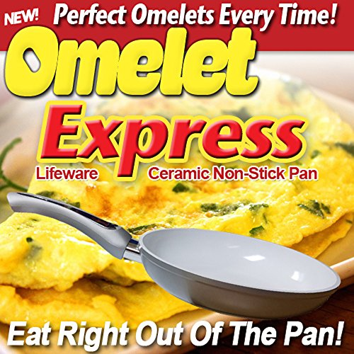 "NEW Omelet Express Ceramic Non-Stick 8"" Ceramic Pan (Silver)"