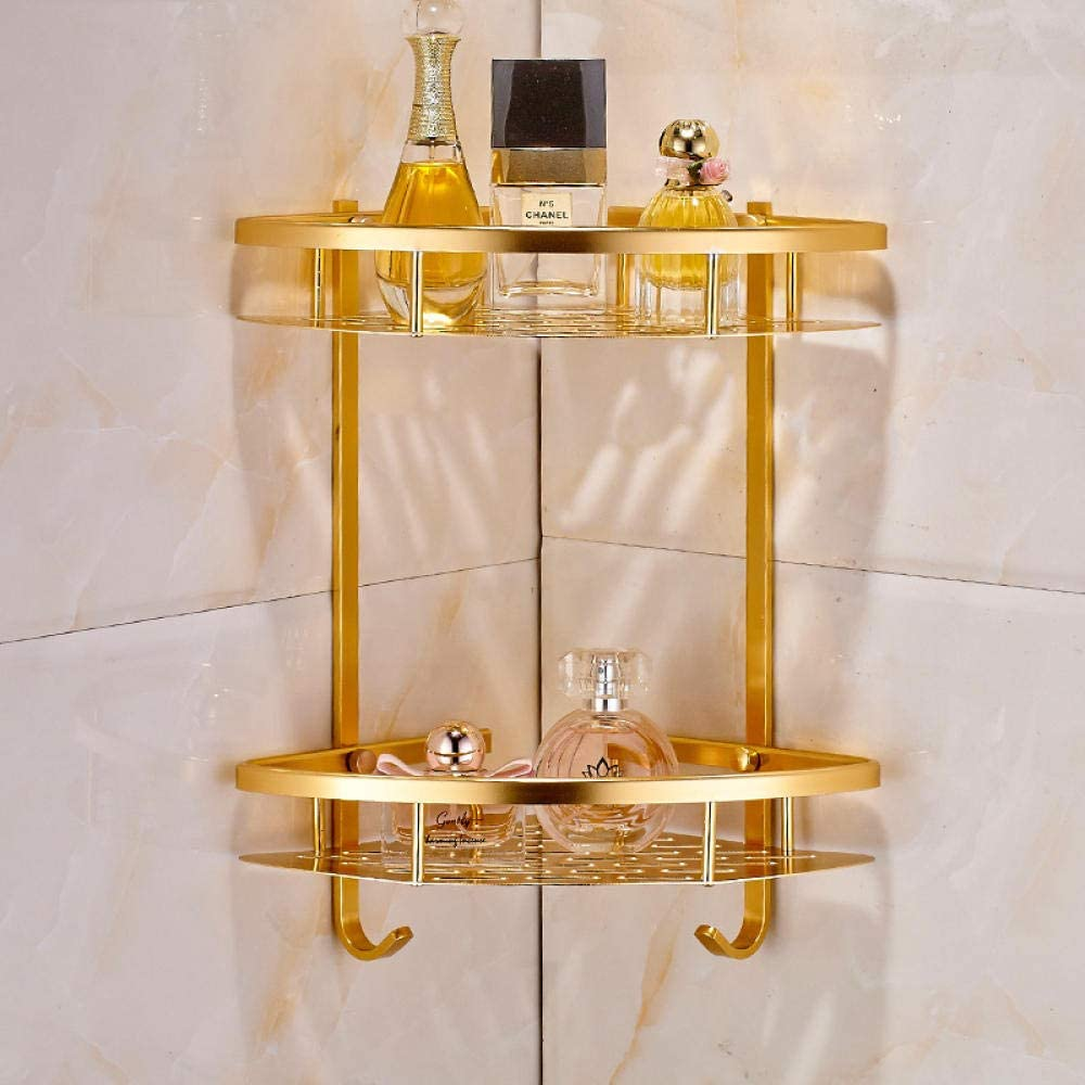 Estantería de Esquina para Ba?o - Cesta de aluminio con doble triángulo Space, estante de esquina de baño dorado, sin agujeros