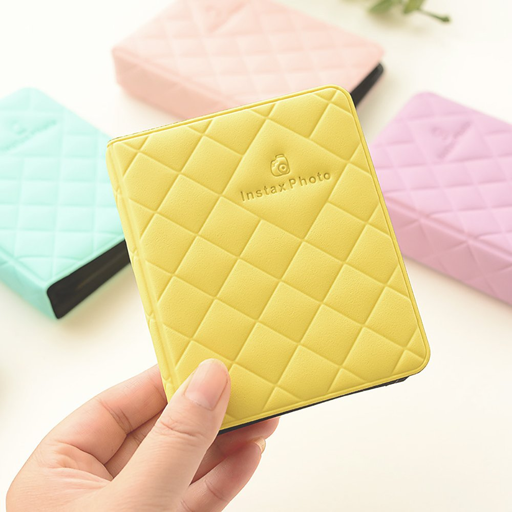 Zhi Jin Leather Mini 36 Pockets Photo Album for Fujifilm Instax Polaroid Size Macaron Picture Case Storage Book Lemon Yellow