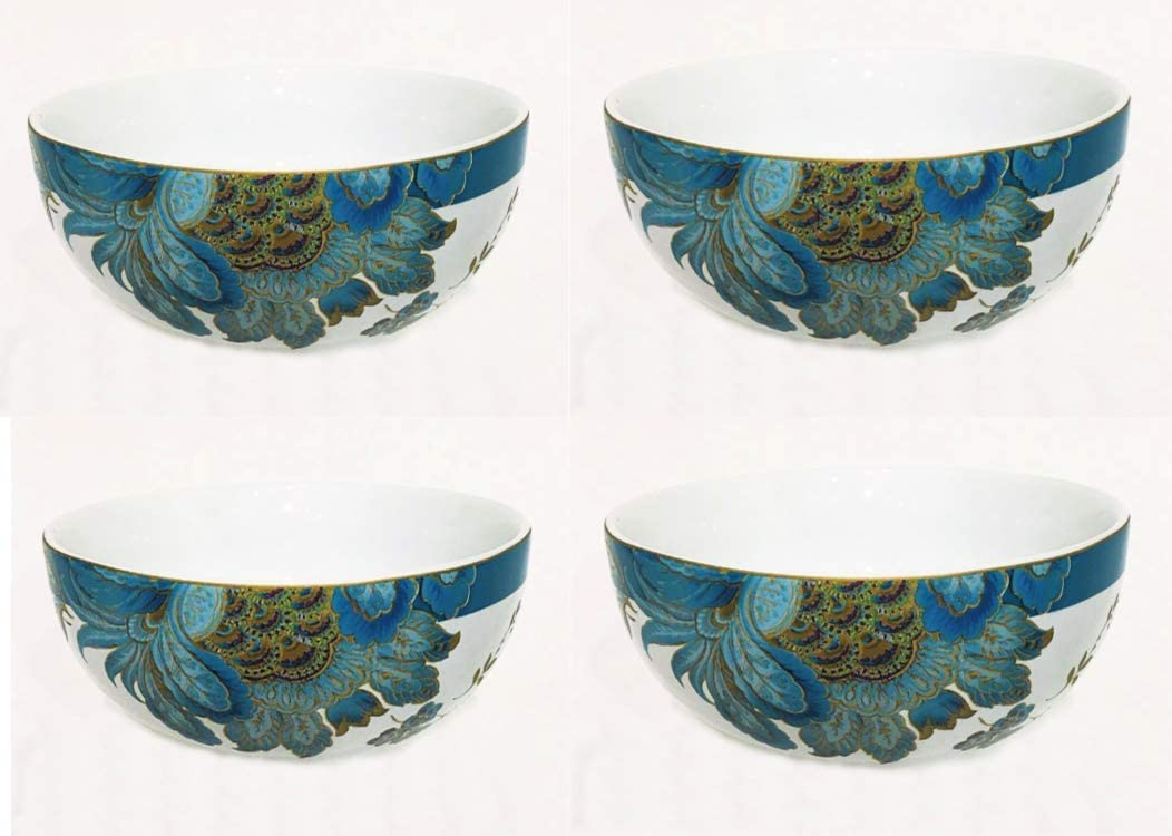 222 Fifth Eliza Teal Paisley Cereal Bowls, Set of 4