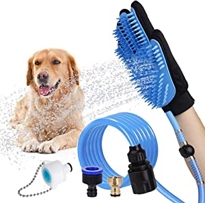 LATH.PIN Pet Bathing Tool Dog Bathing Massaging Glove, Pet Hair Remover for Dog Bath with 3 Adapters Compatible Shower Bath Tub, Outdoor Garden