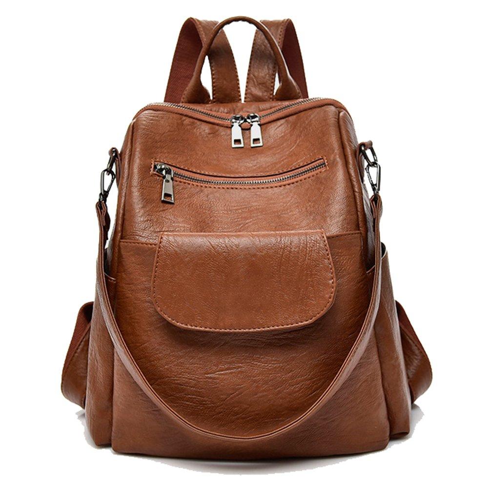women fashion brown washed pu leather designer backpack best waterproof bookbag shoulder bag travel rucksack purse (Brown【PU】)