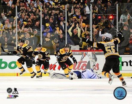 Patrice Bergeron Boston Bruins 2013 NHL Playoffs Game 7 Overtime Goal Photo 11x14 (Nhl Goal Photo)
