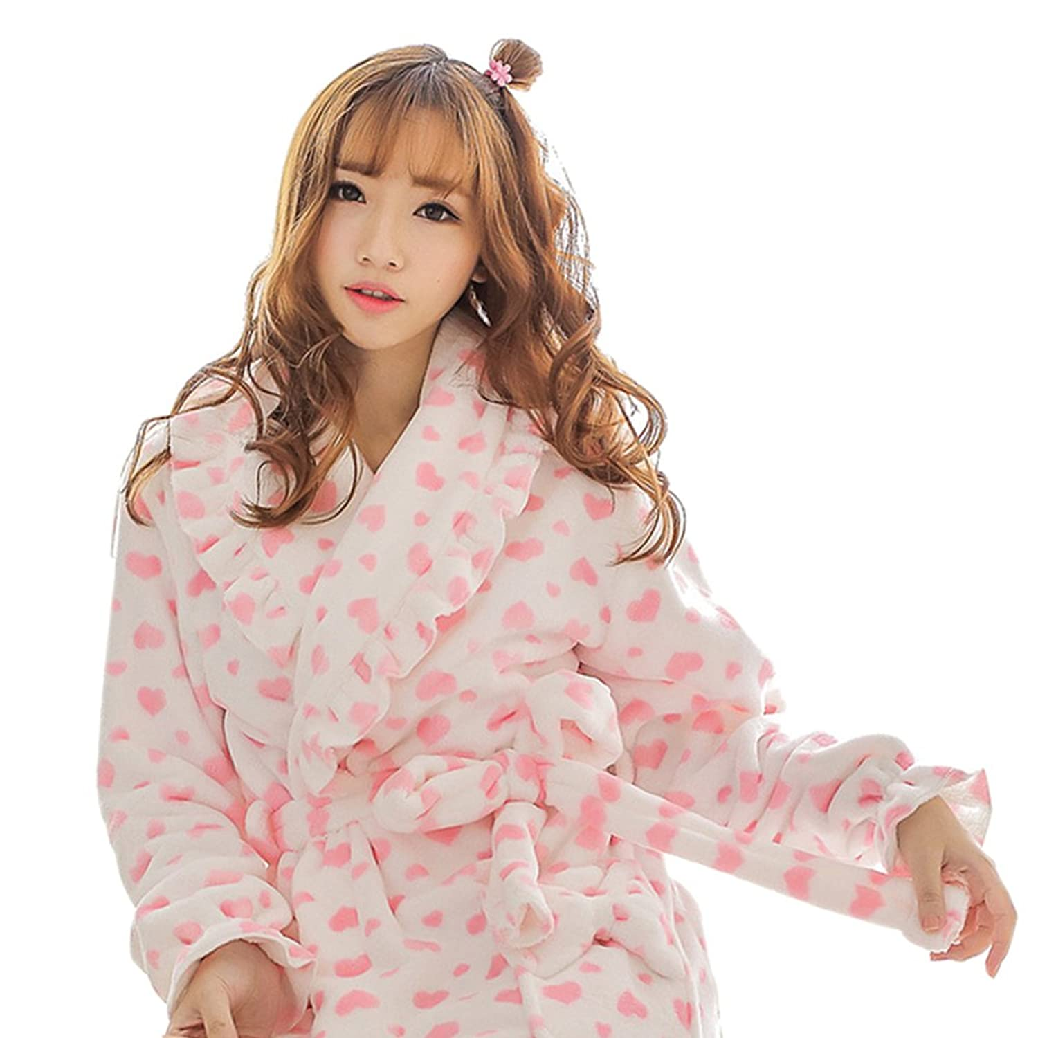 LifeWheel Flannel Nightgown Lace Pajama Tops Long Sleeve Home Clothing Autumn Robe Winter Flounced Sleepwear Coral Cashmere Bathrobes