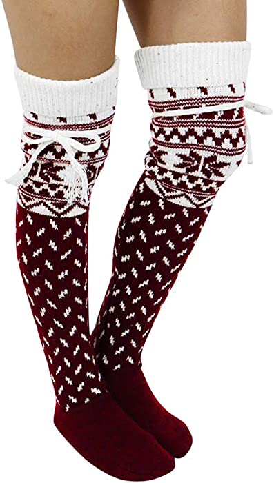 2f79bbf4a Quelife Women Christmas Warm Thigh High Long Stockings Knit Over Knee  Woolen Socks (Wine)