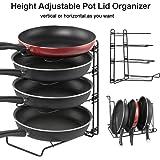 Adjustable Pot Organizer Rack, Gusgu 4-tier Cookware Pots & Pans Organizer Foldable Kitchen Cabinet Pantry Pan And Pot Lid Organizer Rack Holder For 8 9 10 11 12 Inch Cookware.(Black)