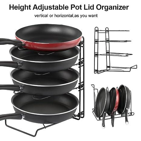 Adjustable Pot Organizer Rack, Gusgu 4 Tier Cookware Pots U0026 Pans Organizer  Foldable Kitchen