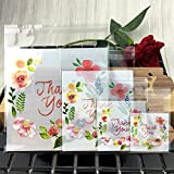 Hustar 200 Pcs Floral Thank You Self Sealing OPP Cello Bags for Bakery Cookies Decorative Wrappers 10x10cm