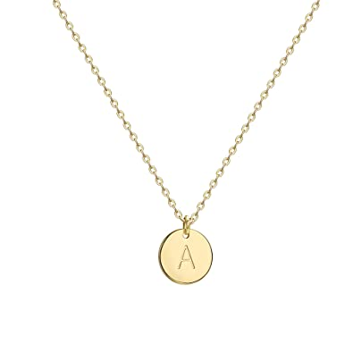 dfef6ef0b Befettly Initial Necklace Pendant 14K Gold-Plated Round Disc Double Side  Engraved Hammered Choker Necklace