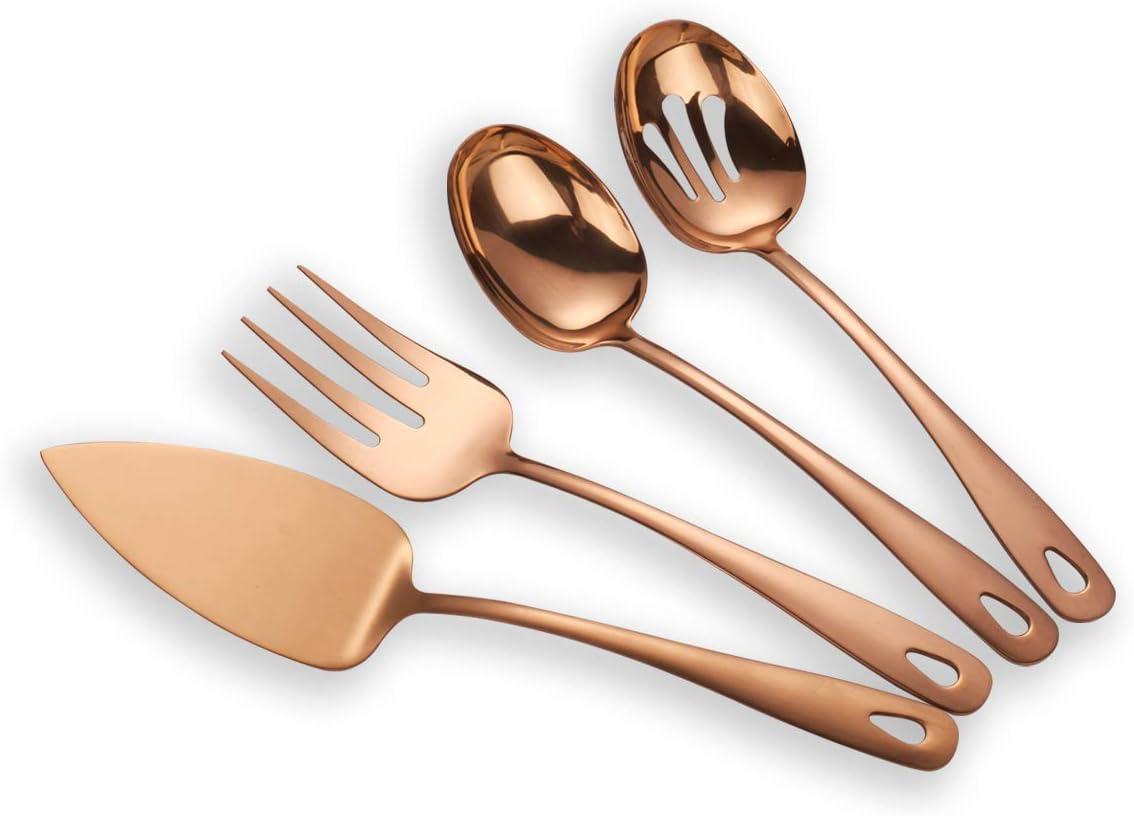Berglander Stainless Steel Rose Gold Titanium Plated Flatware Serving Set 4 Pieces, Cake Server Cold Meat Fork Pierced Serving Spoon Serving Spoon, Copper Silverware Set (shiny, copper)