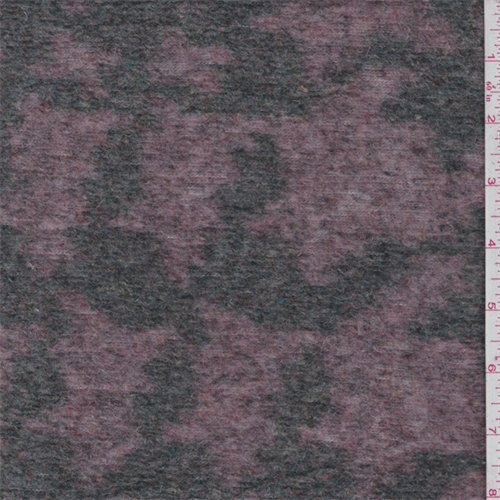 Mauve/Green Houndstooth Boiled Wool Knit, Fabric by The Yard -