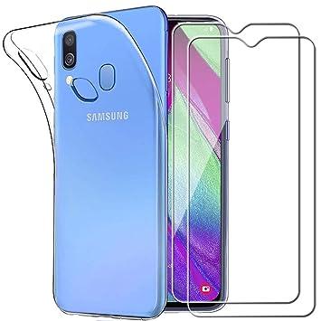 Yoowei para Samsung Galaxy A40 Funda + [2-Pack] Cristal Templado, Transparente Suave Delgado TPU Silicona Carcasa con 2 Unidades Protector de Pantalla ...