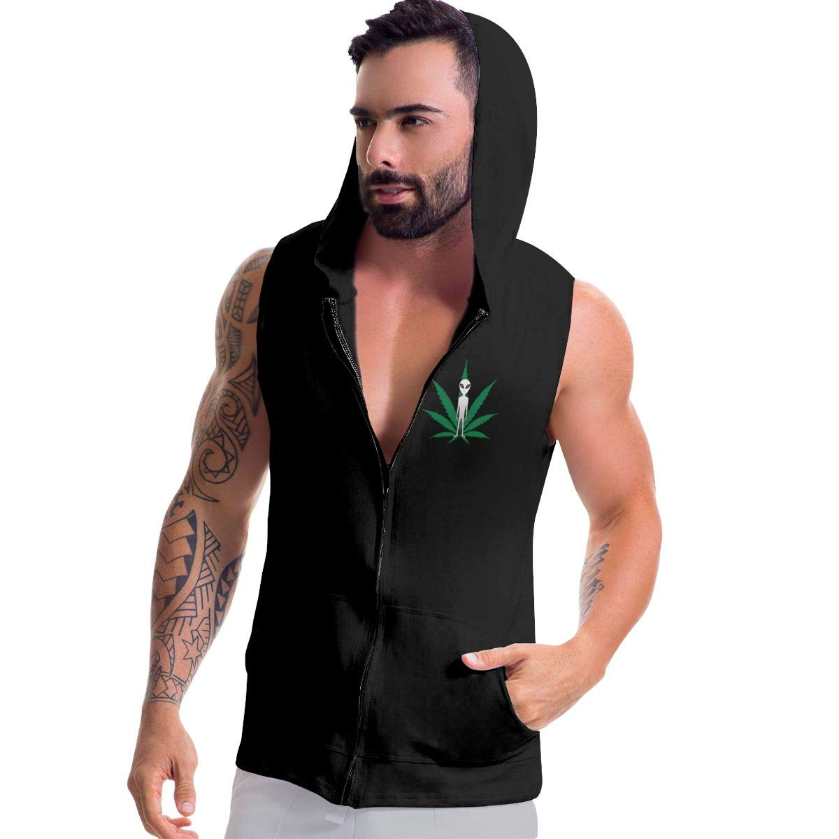 Alien Cannabis Leaf Mens Sleeveless Full Zip Hooded Sweater Active Workout Jacket