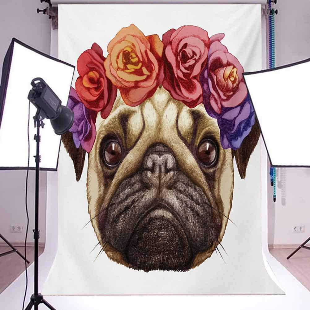 Pug 10x15 FT Backdrop Photographers,Floral Head Wreath on Head of Pug Hand Drawn Cute Dog Image Animals Nature Background for Party Home Decor Outdoorsy Theme Vinyl Shoot Props Pale Brown Purple Red