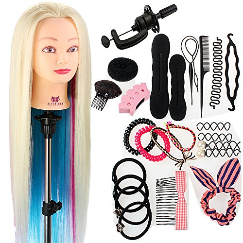 Neverland Beauty 26 100% Synthetic Fiber Hair Hairdressing Training Head Manikin Doll Multicolored with Clamp Practice Mannequin + Hair Braid Accessoires Set Neverland Beauty & Health