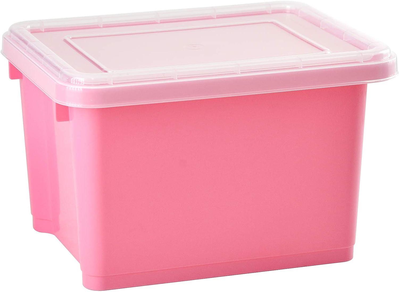livinbox Stack & Next Caja de Almacenaje Contenedor Apilabl 7,5L - Rosa