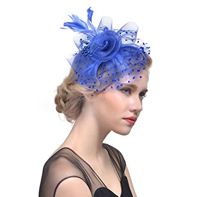 Flower Feather Fascinator Top Hat Cocktail Tea Party Headwear for Girl Lady