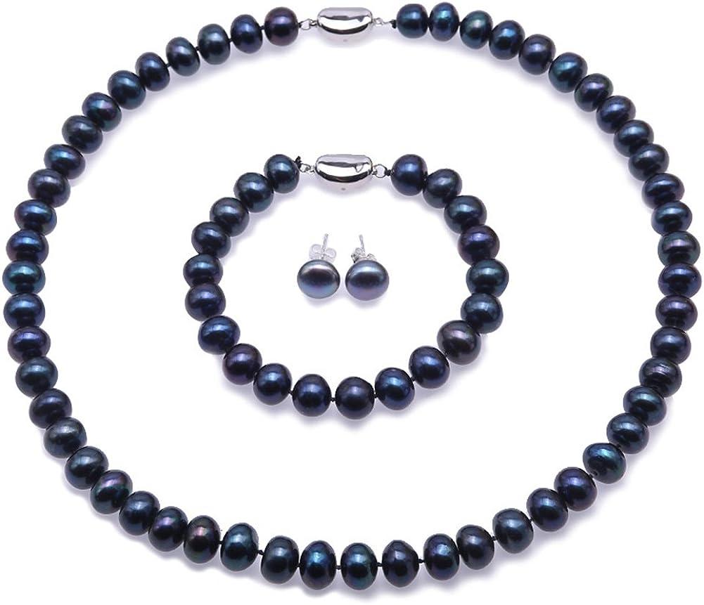 JYX Conjunto de Collar de Perlas Conjunto de aretes, Pendientes y aretes de Plata de Ley 925 en Perlas Naturales (Azul Pavo Real y Blanco)