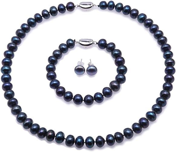JYX Conjunto de Collar de Perlas Pendientes y aretes de Plata de Ley 925 en Perlas Naturales (Azul Pavo Real y Blanco)