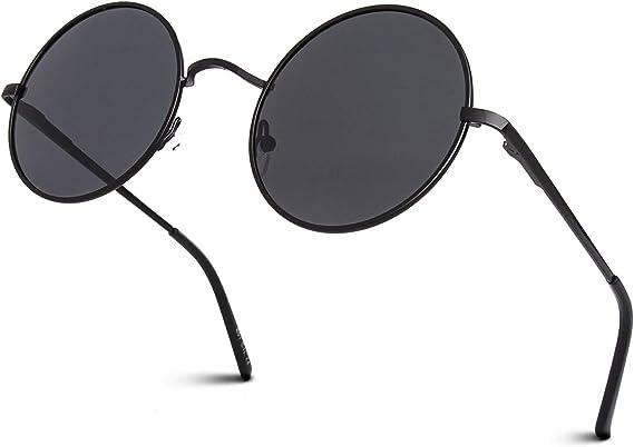 Rétro Noir Lunettes De Soleil Polarisées Hommes Femmes Vintage Miroir Revêtement Eyewear 3